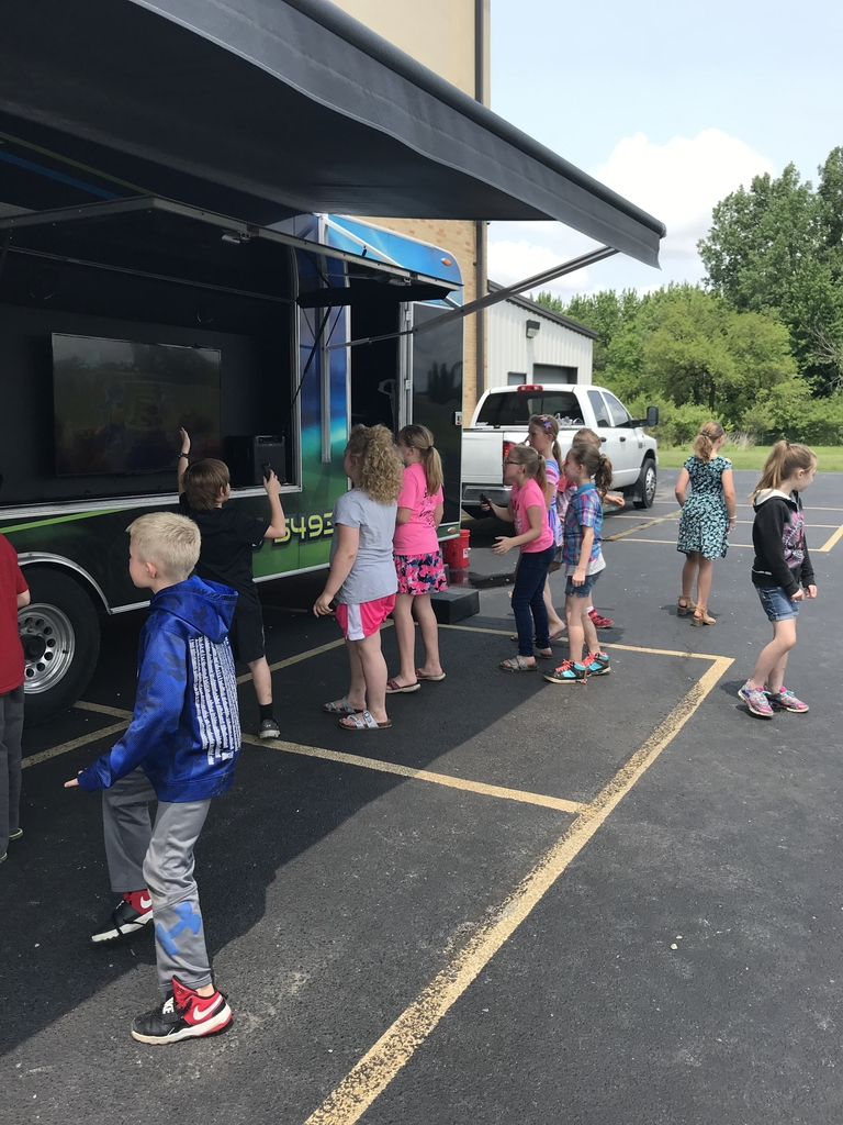 Students enjoying the gaming truck today.