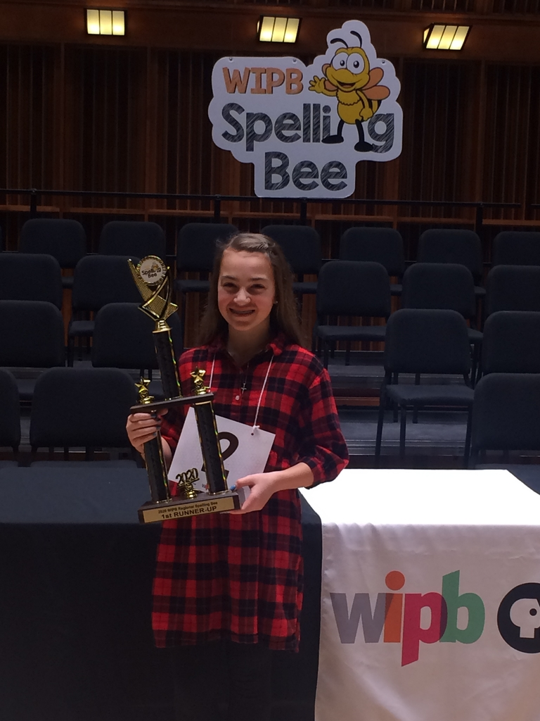 Georgia Davis second place at the regional Spelling Bee! Congratulations!