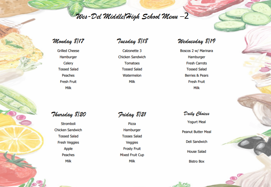 WD MS/HS August Lunch Menu