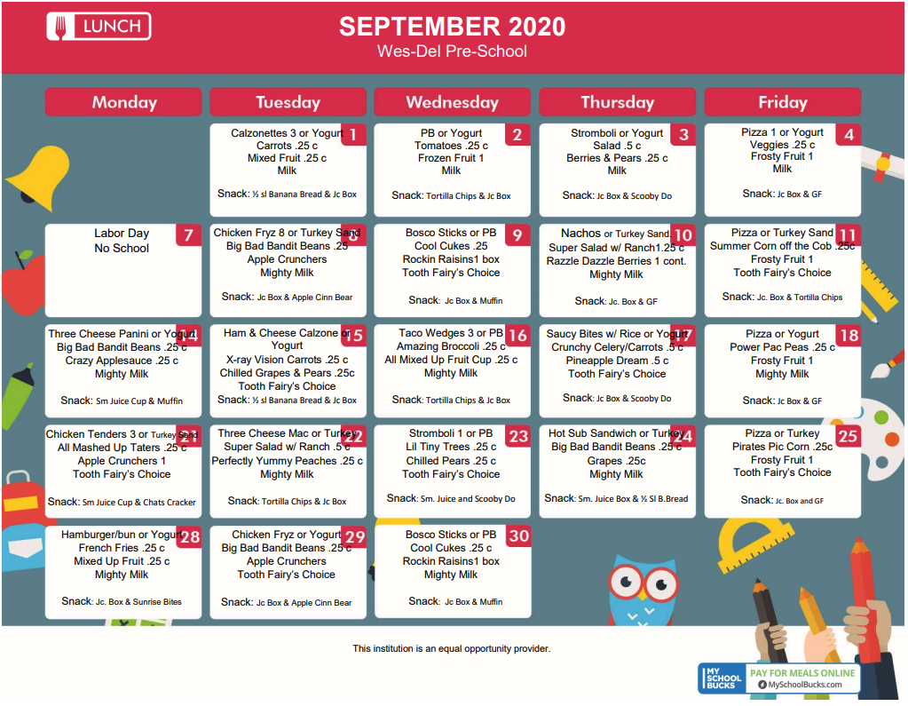 Preschool September Menu