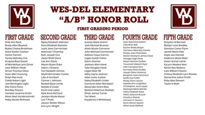 "Wes-Del Elementary ""A/B"" Honor Roll First Grading Period"