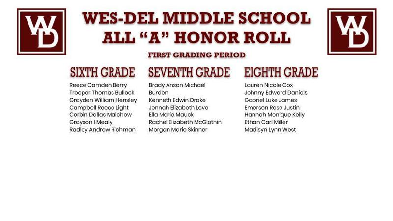 "Wes-Del Middle School ""A"" Honor Roll First Grading Period"