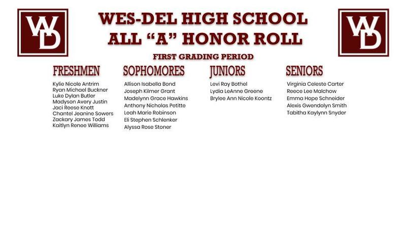 "Wes-Del High School ""A"" Honor Roll First Grading Period"