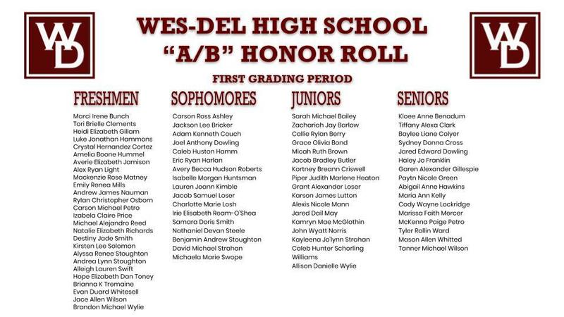 "Wes-Del High School ""A/B"" Honor Roll First Grading Period"